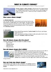 English Worksheet: What is climate change with exercises