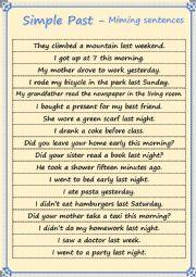 Simple Past - Miming Sentences
