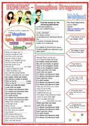 English Worksheet: Demons - Imagine Dragons (Song)