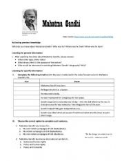 Mahatma Gandhi Listening Activity