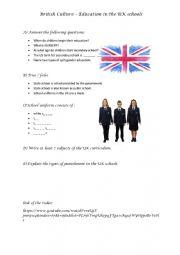 British Culture - UK Schools