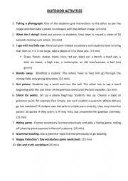 English Worksheet: outdoor activities ideas