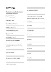 English Worksheet: Review- wh questions- pronouns - yes/no questions