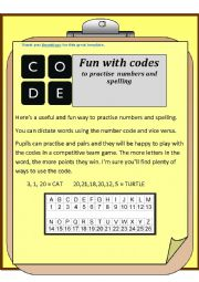 English Worksheet: Codes for numbers and spelling