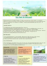 English Worksheet: Tea time in England