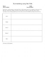 English Worksheet: Summarizing Using the 5Ws