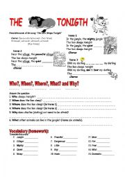 English Worksheet: The Lion Sleeps Tonight (English Song)