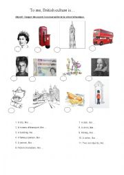 English Worksheet: To me, British culture is...