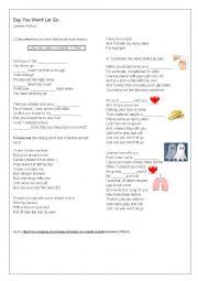English worksheet: Say you won´t let go