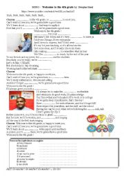 English worksheet: SONG -  Welcome to the 4th grade by  Dwayne Reed