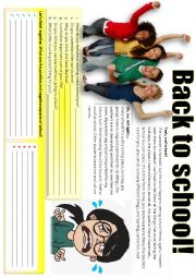 English worksheet: BACK TO SCHOOL (wondering)