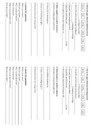 English Worksheet: Positive and negative sentences