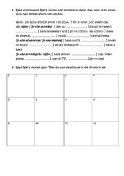 English Worksheet: Daily routine connectors, parts of the day and put pictures in order