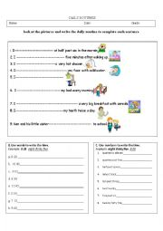 English Worksheet: Daily Routine and Time
