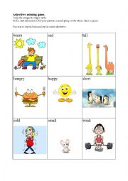 English Worksheet: English adjective miming game