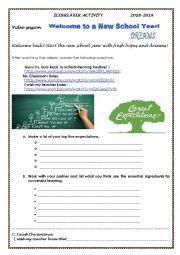English Worksheet: ICEBREAKER- VIDEO SESSION- WELCOME BACK TO SCHOOL