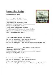 English Worksheet: Red Hot Chili Peppers Song Under The Bridge