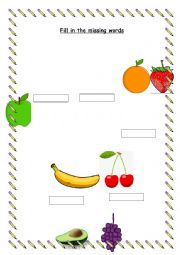 Fruit and Veg fill in the blanks