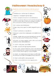 English Worksheet: Halloween vocabulary matching picture with definition and key n�2
