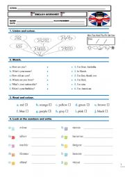 English Worksheet: Placement test 4th grade