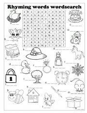 English Worksheet: Rhymes wordsearch