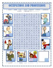 English Worksheet: WORDSEARCH JOBS , OCCUPATIONS AND PROFESSIONS