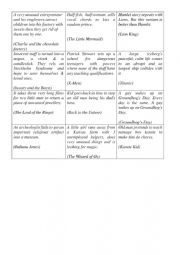 English Worksheet: Guess the film by plot