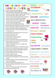 English Worksheet: Adjectives of personality+ key