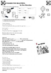 English Worksheet: What makes you beautiful  (one direction) song worksheet