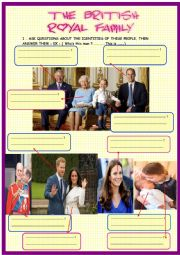 English Worksheet: British Royal Family : Who �s who + crossword with Key