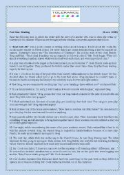 English Worksheet: Exam about tolerance