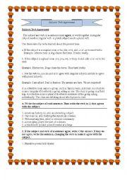 English Worksheet: grammar (subject verb agreement)