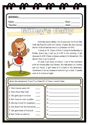 READING COMPREHENSION - MILLEY´S DAILY ROUTINE