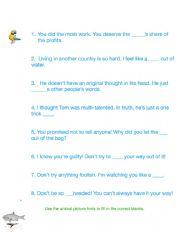 Animal Idioms Worksheet 1