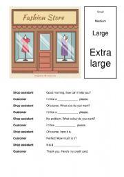 English Worksheet: Shopping dialogue A1