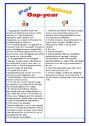 English Worksheet: For or against - Gap year