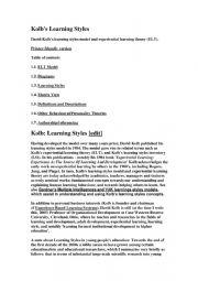 English Worksheet: kolb�s learning styles