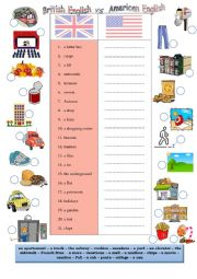 English Worksheet: British VS American