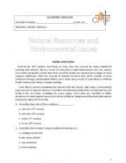 English Worksheet: Natural Resources Exam