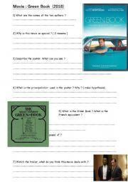 English Worksheet: Green Book Previewing activities