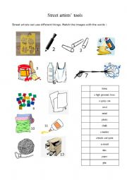 English Worksheet: Street artists�tools