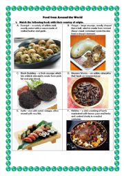 English Worksheet: Food from Around the World
