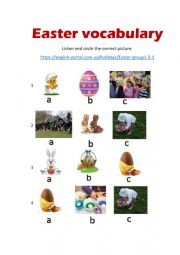 English Worksheet: Easter vocabulary listening