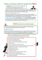 English Worksheet: Elision and Linking for Past Regular Verbs (part 2)