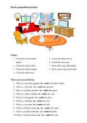 English Worksheet: Easter preposition and vocabulary practice
