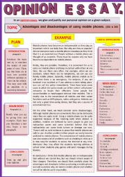 Opinion essay - Advantages and disadvantages of Mobile Phones - Guided writing + Example.