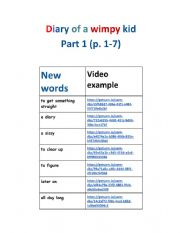 English Worksheet: Diary of a wimpy kid pages 1-7
