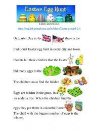Easter egg hunt. listening