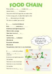 English Worksheet: Food Chain song with blanks + KEY