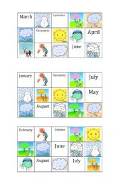 English Worksheet: Bingo: seasons, weather, months